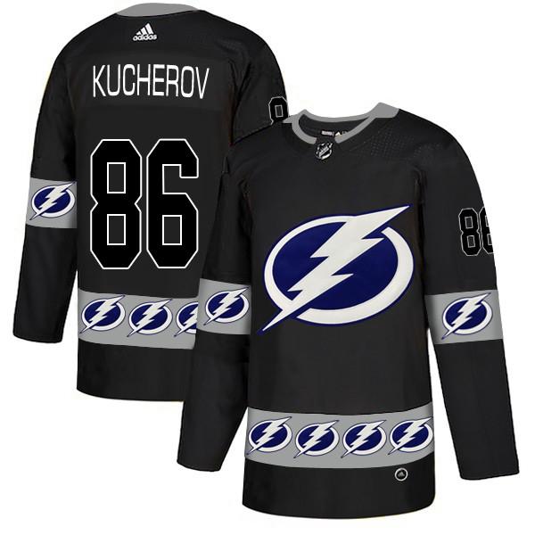 Men's Tampa Bay Lightning #66 Nikita Kucherov Black Team Logos Fashion Adidas Jersey
