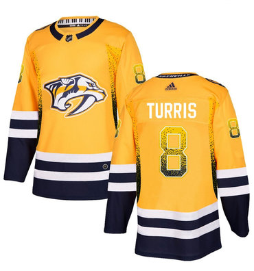 Men's Nashville Predators #8 Kyle Turris Gold Drift Fashion Adidas Jersey