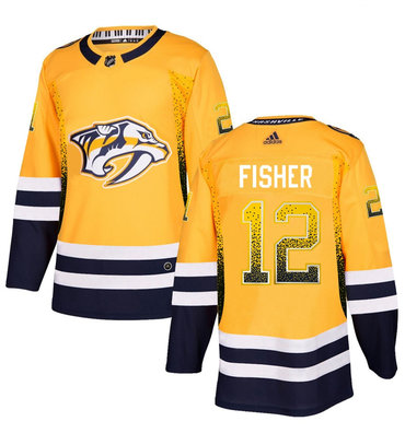 Men's Nashville Predators #12 Mike Fisher Gold Drift Fashion Adidas Jersey