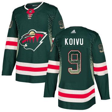 Men's Minnesota Wild #9 Mikko Koivu Green Drift Fashion Adidas Jersey