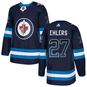 Men's Winnipeg Jets #27 Nikolaj Ehlers Navy Drift Fashion Adidas Jersey
