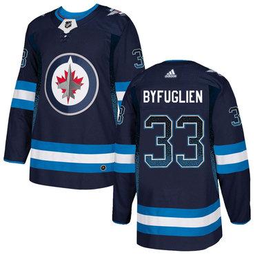 Men's Winnipeg Jets #33 Dustin Byfuglien Navy Drift Fashion Adidas Jersey