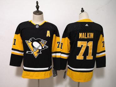 Pittsburgh Penguins #71 Evgeni Malkin Black Youth Adidas Jersey