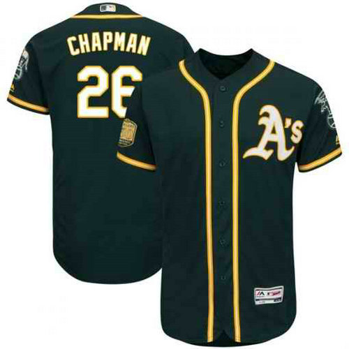 Men's Oakland Athletics #26 Matt Chapman Green Flexbase Authentic Collection Stitched MLB Jersey