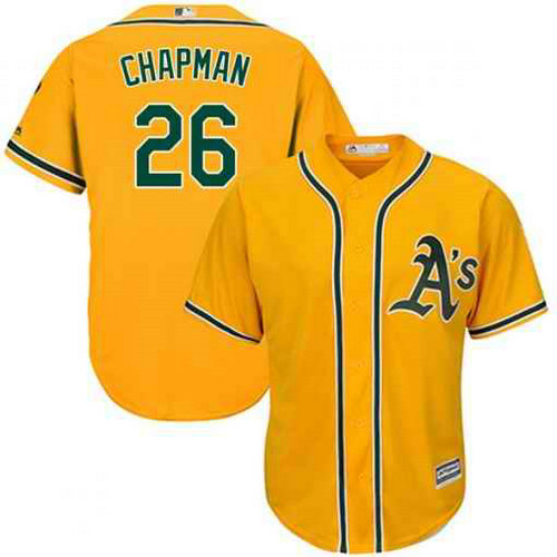 Men's Oakland Athletics #26 Matt Chapman Gold Cool Base Stitched MLB Jersey