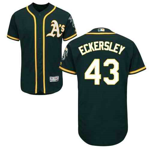 Men's Oakland Athletics #43 Dennis Eckersley Green Flexbase Authentic Collection Stitched MLB Jersey
