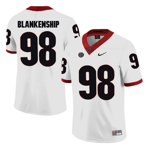 Georgia Bulldogs #98 Rodrigo Blankenship White College Football Jersey