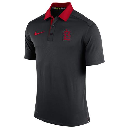 Men's St. Louis Cardinals Nike Anthracite Authentic Collection Dri-FIT Elite Polo