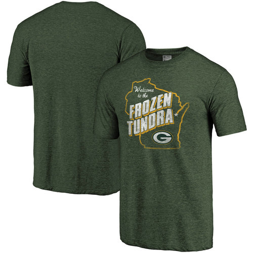 Green Bay Packers Heathered Green Hometown Collection Tri-Blend NFL Pro Line by T-Shirt