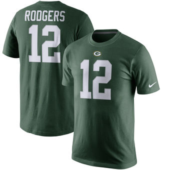 Men's Green Bay Packers 12 Aaron Rodgers Nike Green Player Pride Name & Number T-Shirt