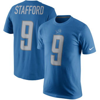 Men's Detroit Lions 9 Matthew Stafford Nike Blue Player Pride Name & Number T-Shirt