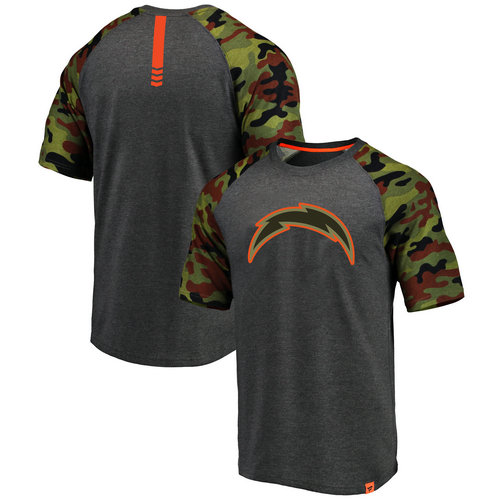 Los Angeles Chargers Heathered Gray NFL Pro Line by Fanatics Branded Camo Recon Camo Raglan T-Shirt