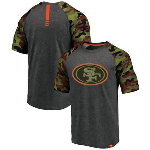 San Francisco 49ers Heathered Gray NFL Pro Line by Fanatics Branded Camo Recon Camo Raglan T-Shirt