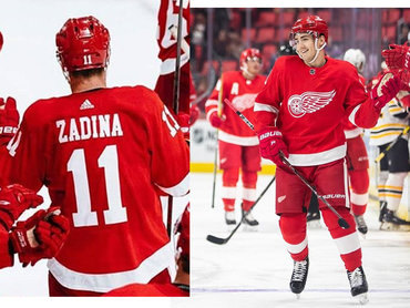 Men's Adidas Detroit Red Wings #11 Filip Zadina Red Home Authentic NHL Jersey