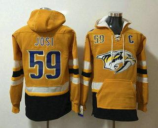Men's Nashville Predators #59 Roman Josi NEW Yellow Pocket Stitched NHL Pullover Hoodie