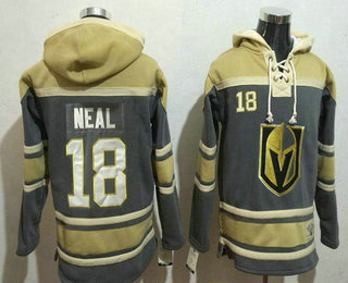 Men's Vegas Golden Knights #18 James Neal Gray Stitched NHL Old Time Hockey Pullover Hoodie
