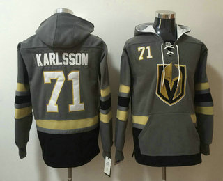 Men's Vegas Golden Knights #71 William Karlsson Gray Stitched NHL Old Time Hockey Pullover Hoodie