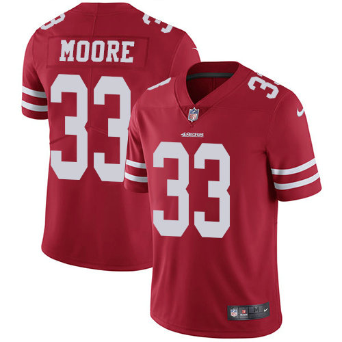 Youth Nike 49ers 33 Tarvarius Moore Red Team Color Stitched NFL Vapor Untouchable Limited Jersey