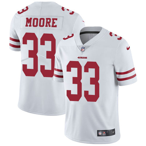 Youth Nike 49ers 33 Tarvarius Moore White Stitched NFL Vapor Untouchable Limited Jersey