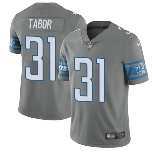 Kids Nike Lions 31 Teez Tabor Gray Stitched NFL Limited Rush Jersey