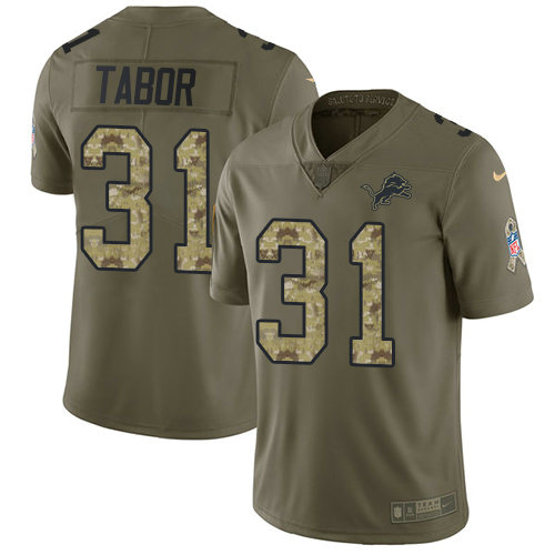 Kids Nike Lions 31 Teez Tabor Olive Camo Stitched NFL Limited 2017 Salute To Service Jersey