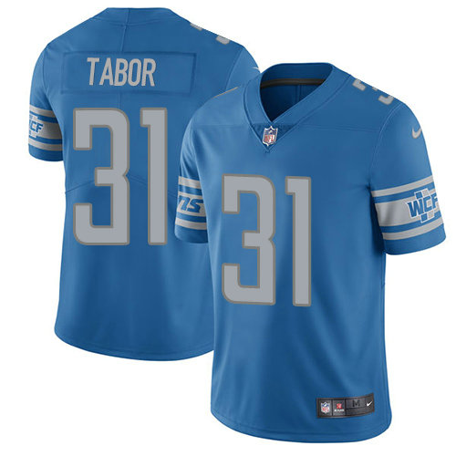 Kids Nike Lions 31 Teez Tabor Blue Team Color Stitched NFL Vapor Untouchable Limited Jersey