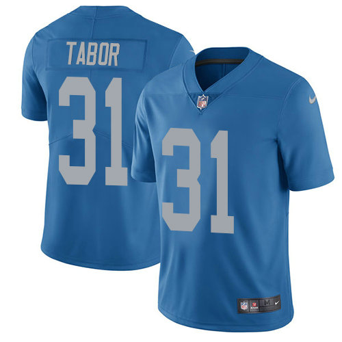 Kids Nike Lions 31 Teez Tabor Blue Throwback Stitched NFL Vapor Untouchable Limited Jersey