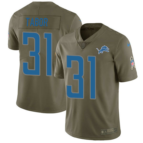 Kids Nike Lions 31 Teez Tabor Olive Stitched NFL Limited 2017 Salute to Service Jersey