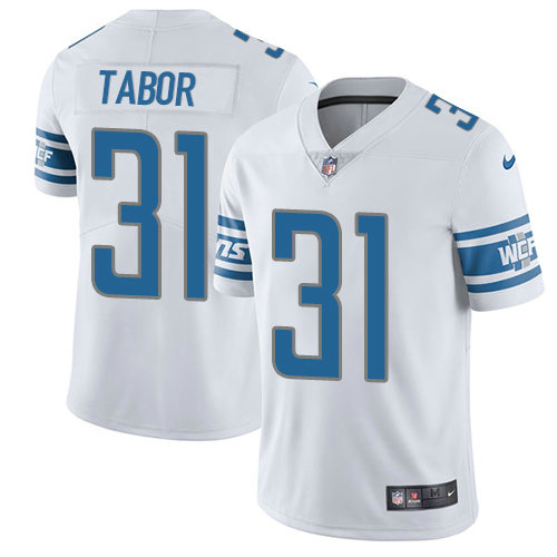 Kids Nike Lions 31 Teez Tabor White Stitched NFL Vapor Untouchable Limited Jersey