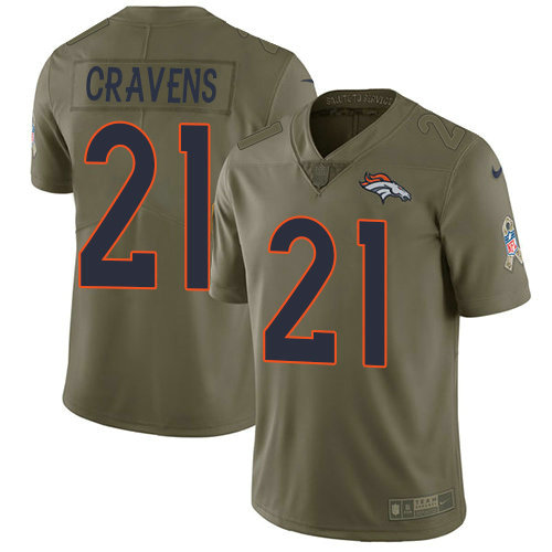 Youth Nike Broncos 21 Su'a Cravens Olive Stitched NFL Limited 2017 Salute To Service Jersey