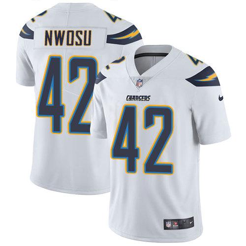 Youth Nike Chargers 42 Uchenna Nwosu White Stitched NFL Vapor Untouchable Limited Jersey