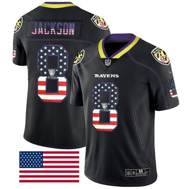 Nike Baltimore Ravens #8 Lamar Jackson Black Men's Stitched NFL Limited Rush USA Flag Jersey