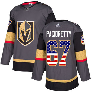 Adidas Vegas Golden Knights #67 Max Pacioretty Grey Home Authentic USA Flag Stitched NHL Jersey
