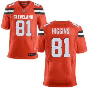 Nike Cleveland Browns #81 Rashard Higgins Orange Stitched NFL Elite Jersey