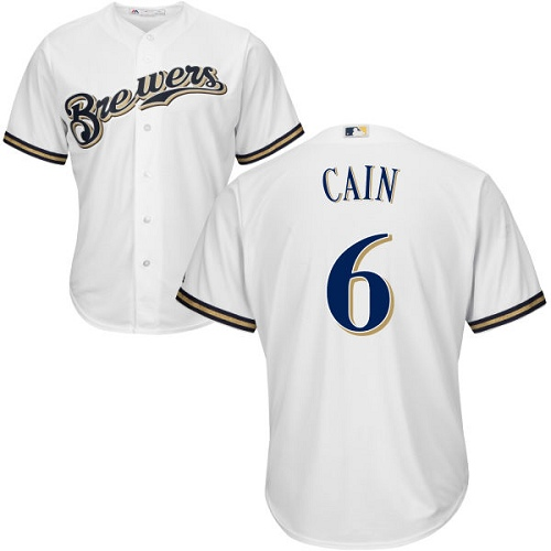 Men's Milwaukee Brewers #6 Lorenzo Cain White Cool Base Stitched MLB Jersey