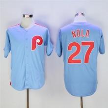 Men's Philadelphia Phillies #27 Aaron Nola Light Blue Majestic Cool Base Cooperstown Collection Jersey