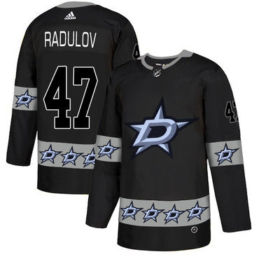 Men's Dallas Stars #47 Alexander Radulov Black Team Logos Fashion Adidas Jersey