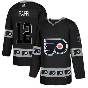 Men's Philadelphia Flyers #12 Michael Raffl Black Team Logos Fashion Adidas Jersey