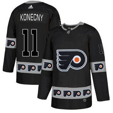 Men's Philadelphia Flyers #11 Travis Konecny Black Team Logos Fashion Adidas Jersey