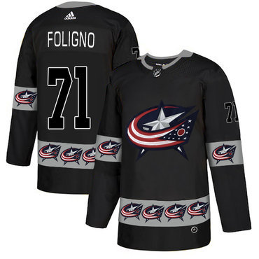 Men's Columbus Blue Jackets #71 Nick Foligno Black Team Logos Fashion Adidas Jersey