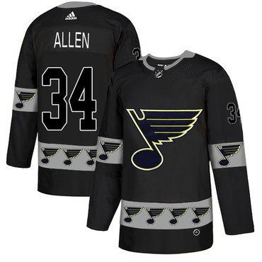 Men's St. Louis Blues #34 Jake Allen Black Team Logos Fashion Adidas Jersey