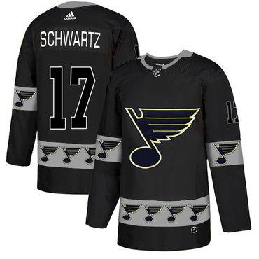 Men's St. Louis Blues #17 Jaden Schwartz Black Team Logos Fashion Adidas Jersey