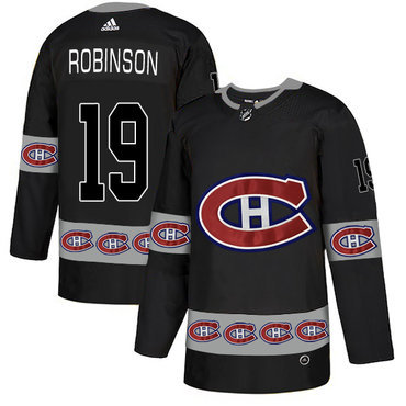 Men's Montreal Canadiens #19 Larry Robinson Black Team Logos Fashion Adidas Jersey