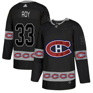 Men's Montreal Canadiens #33 Patrick Roy Black Team Logos Fashion Adidas Jersey
