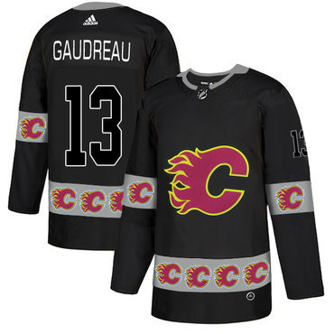 Men's Calgary Flames #13 Johnny Gaudreau Black Team Logos Fashion Adidas Jersey