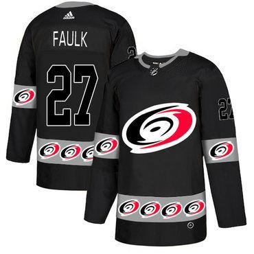Men's Carolina Hurricanes #27 Justin Faulk Black Team Logos Fashion Adidas Jersey
