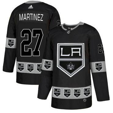 Men's Los Angeles Kings #27 Alec Martinez Black Team Logos Fashion Adidas Jersey