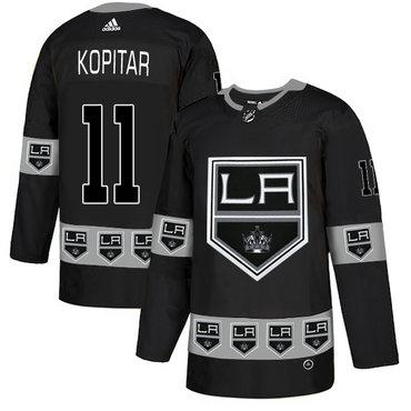 Men's Los Angeles Kings #11 Anze Kopitar Black Team Logos Fashion Adidas Jersey