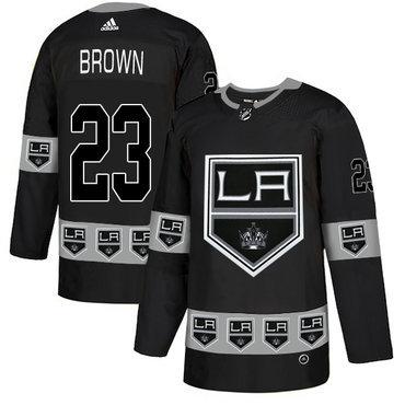 Men's Los Angeles Kings #23 Dustin Brown Black Team Logos Fashion Adidas Jersey