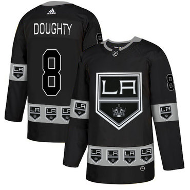 Men's Los Angeles Kings #8 Drew Doughty Black Team Logos Fashion Adidas Jersey